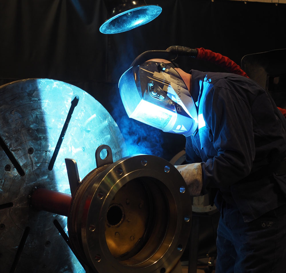 Welding an industrial fan