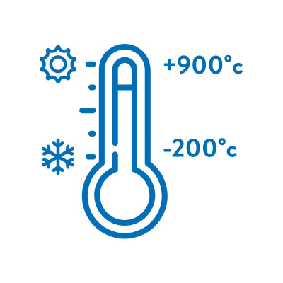 Highest/lowest operating temp +900 degrees C to -200 degrees C